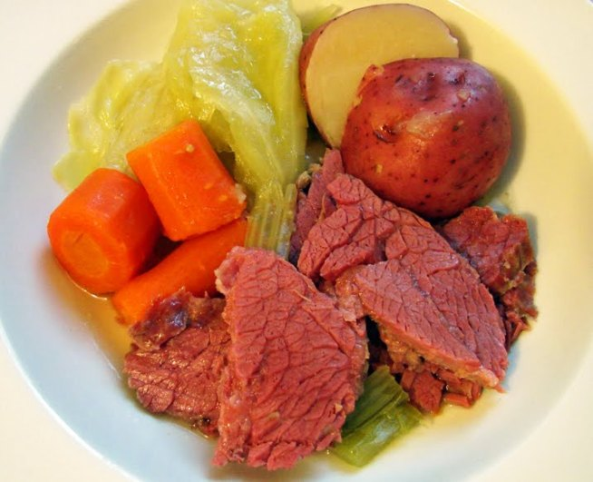 Corned beef and cabbage in a bowl
